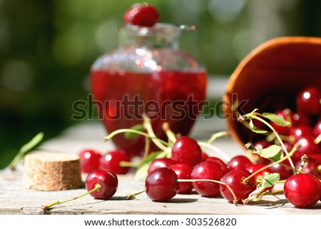 cherry jam - stock photo