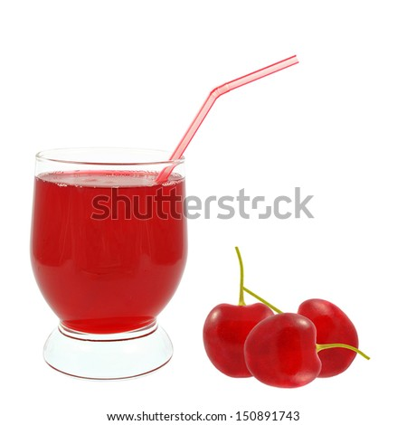 cherry juice on a white background