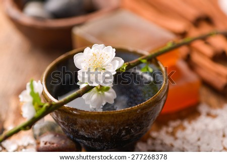 Cherry on bowl and stones ,pile of salt ,soap, cinnamon on old wood - stock photo