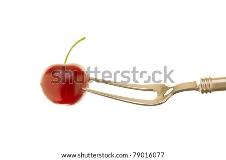 Cherry on Fork Isolated on White Background
