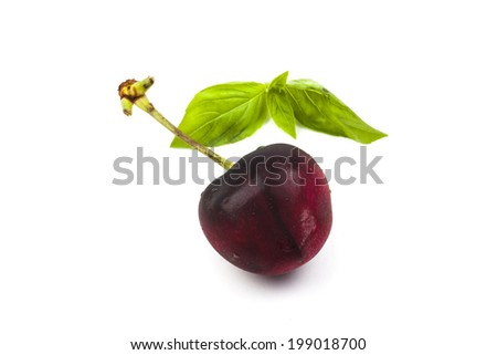Cherry on white background.
