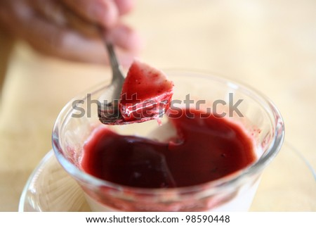 Cherry Panna Cotta pudding