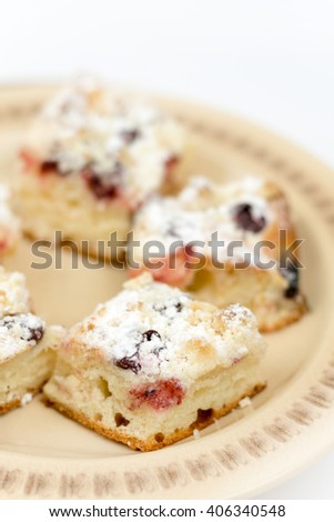 Cherry pastries served on the plate.