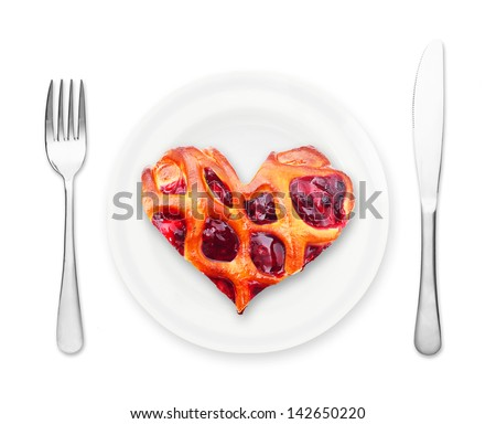 Cherry pie piece heart shape on plate isolated on white. - stock photo