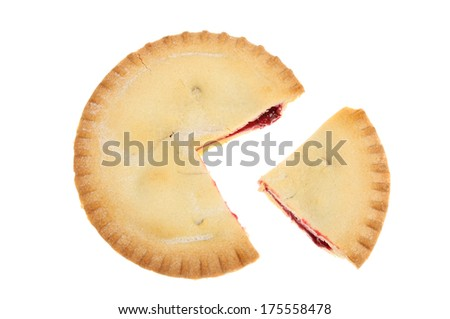 Cherry pie with a slice cut out isolated against white - stock photo