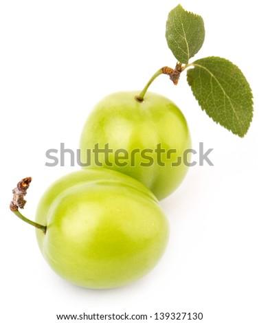 Cherry Plum Isolated On White Background - stock photo