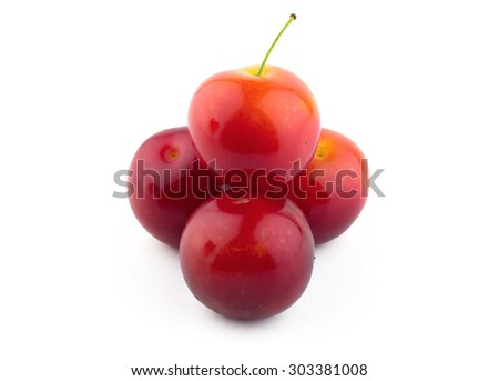 cherry-plum isolated on white background
