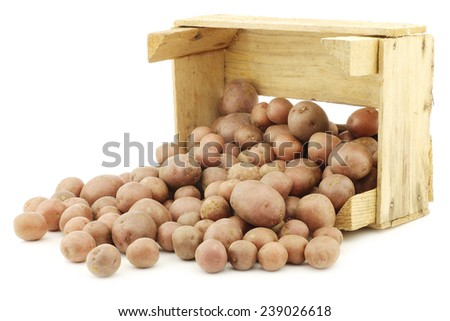 Cherry potatoes (small dutch potatoes) in a wooden crate on a white background - stock photo