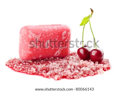 cherry soap bar isolated on white background