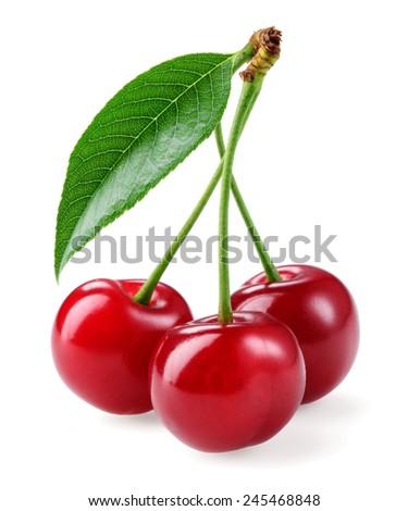 Cherry. Three berries isolated on white background - stock photo
