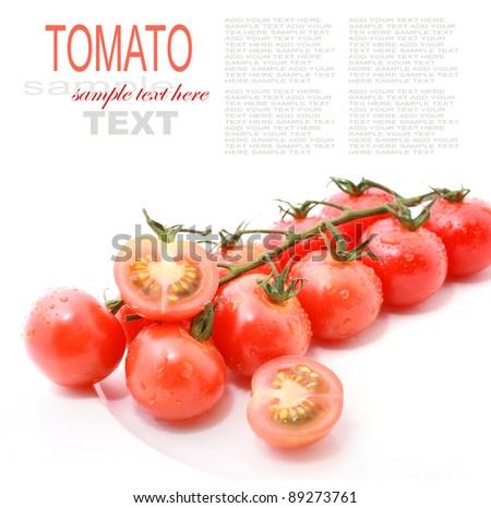 Cherry Tomato with cut isolated on white - stock photo