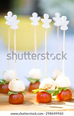 Cherry Tomato with Mozzarella Cheese and Sauce - stock photo