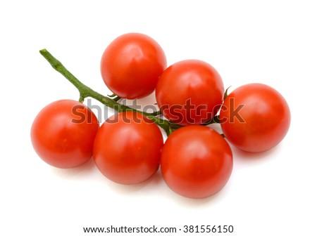 cherry tomatoes fruits isolated on white background - stock photo