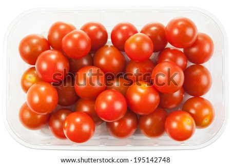Cherry tomatoes in a plastic container on white background  - stock photo