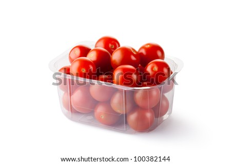 Cherry tomatoes in retail packaging. Isolated on a white. - stock photo
