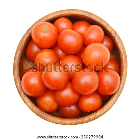 cherry tomatoes isolated in wooden bowl on white background  - stock photo