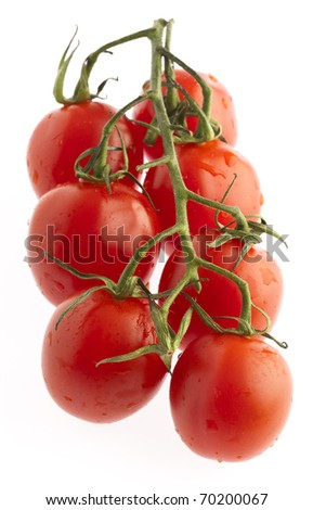 cherry tomatoes isolated on a white background - stock photo