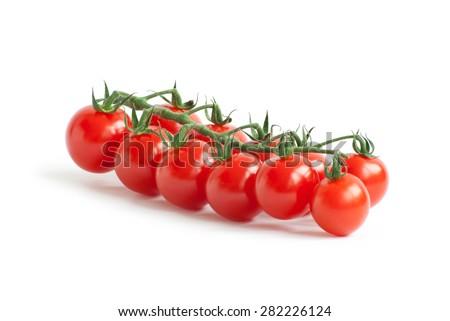 Cherry tomatoes isolated on white - stock photo
