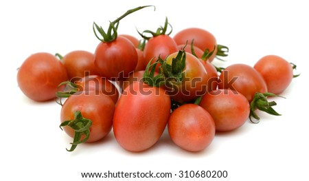 cherry tomatoes Isolated on white background - stock photo