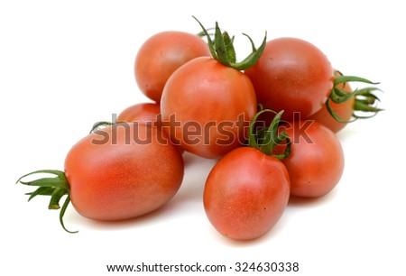 cherry tomatoes Isolated on white background - stock photo