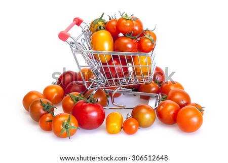Cherry tomatoes of various grades in the cart from hypermarket