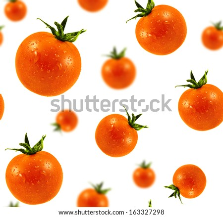 Cherry Tomatoes seamless texture. Tomatoes with water drops isolated on white background. Ripe orange mini tomato. - stock photo