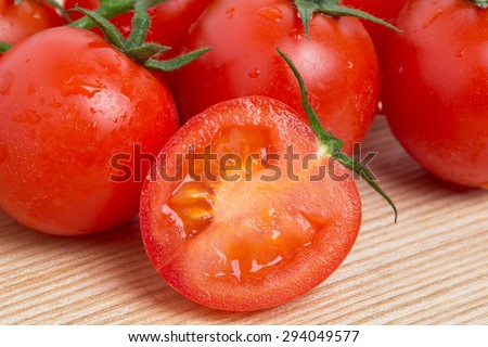 Cherry tomatoes with a branch