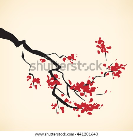 Cherry tree branch - stock photo