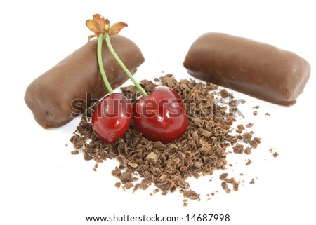 cherry with chocolate isolated on white - stock photo