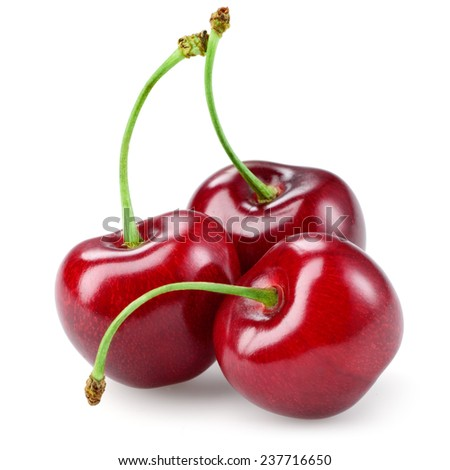 Cherry with leaf isolated on white. - stock photo