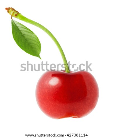 Cherry with leaves isolated on white background - stock photo