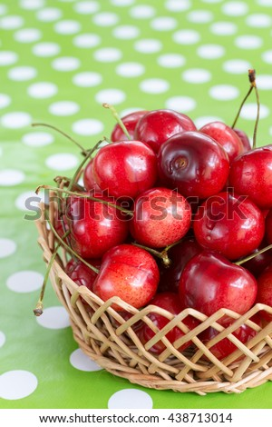 Cherry wooden basket selective focus