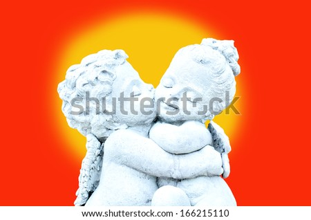 cherub on full moon - stock photo