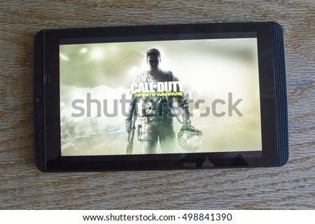 CHESHIRE, ENGLAND - OCTOBER 15, 2016: Call of Duty Infinite Warfare on screen of an NVidia Shield Android Tablet