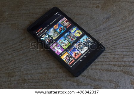 CHESHIRE, ENGLAND - OCTOBER 15, 2016: Netflix on screen of an NVidia Shield Android Tablet