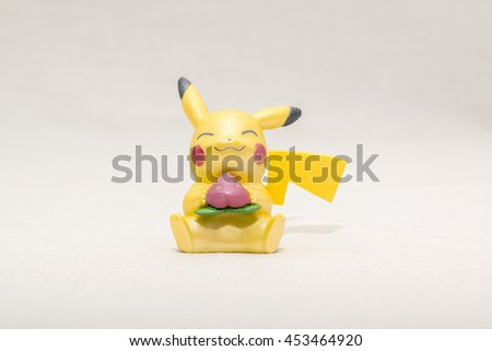 CHESIRE ENGLAND - JULY 16, 2016: Tomy Pikachu Pokemon Collection. Pokemon is a fictional creature created by Satoshi Tajiri in 1995 - stock photo