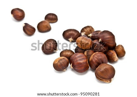 Chesnuts Isolated on White - stock photo