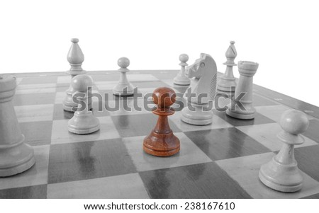 Chess. Alone piece - business concept of lonely worker, new worker, new situation in life - stock photo