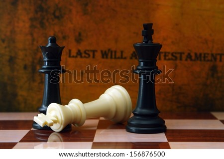Chess and last will concept - stock photo