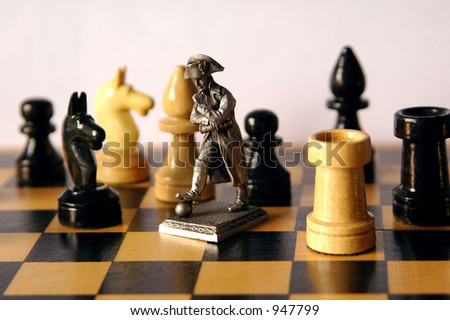 chess and napoleon on the chessboard