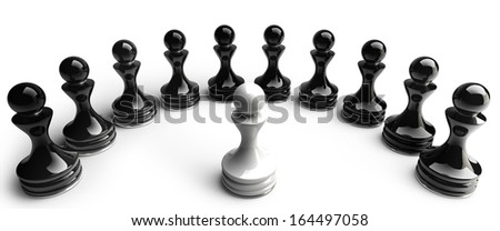 Chess background central figure - white pawn isolated on white background High resolution 3d  - stock photo