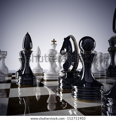 Chess background - checkmate. High resolution 3D render
