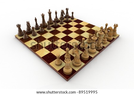 Chess battle on wood board - stock photo