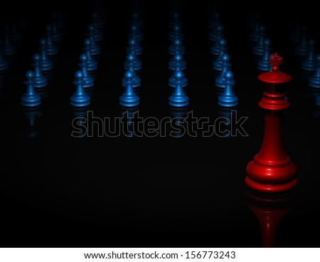 Chess black background with king and pawns, team, army and fight concept