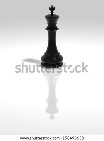 Chess black king figure illustration isolated with reflection and shadow on the light background. - stock photo