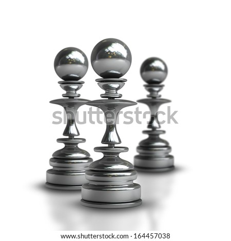 Chess black pawn isolated on white background High resolution 3d