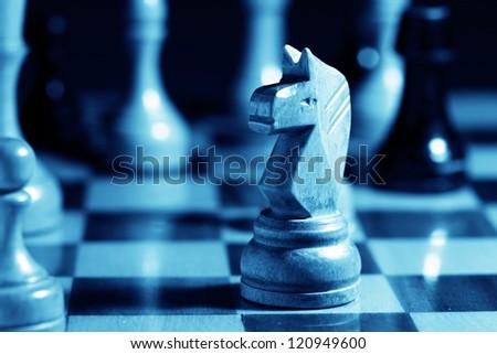 Chess. Blue tone. - stock photo
