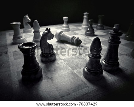 Chess board black & white 3d rendering - stock photo
