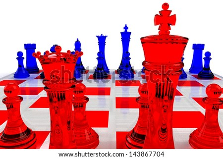 Chess Board Illustration with Red and Blue Glass Pieces - stock photo
