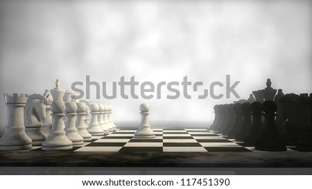 chess board in fog